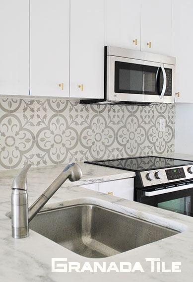 Encaustic Cement Tile Kitchen Backsplash