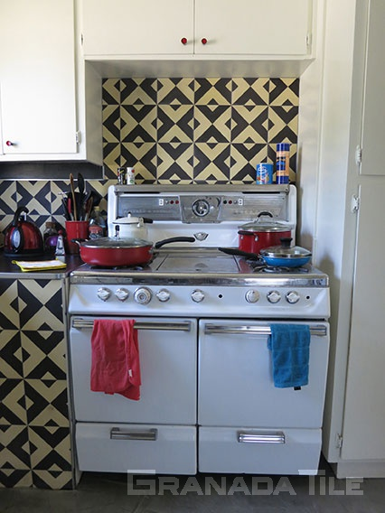 ... Concrete Cement Tile Kitchen Backsplash Serengeti 913 A Cream And Black  Design ...