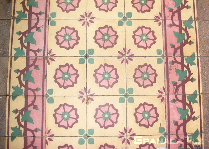 Cement tile with Egyptian floral design