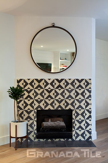 fireplace cement tiles