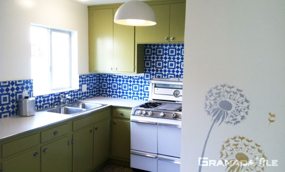 ... Cement Tile Kitchen Backsplash Fez 928 A Blue And White Design ...