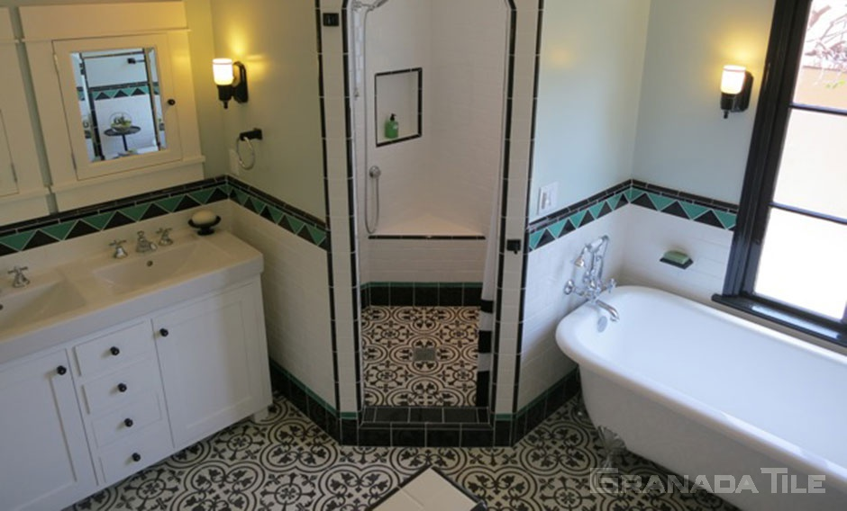 Cluny Cement Tile Bathroom