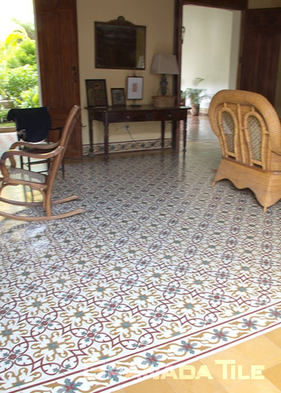 Ornate cement tile carpet for living room