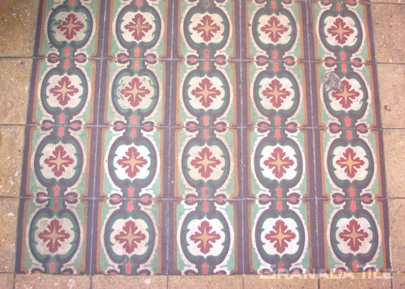 Decorative encaustic cement tile design