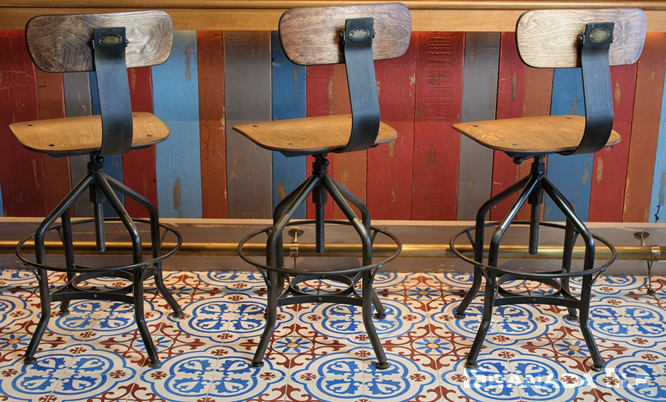 Red, white and blue Copenhagen cement tiles on Restaurant Floor