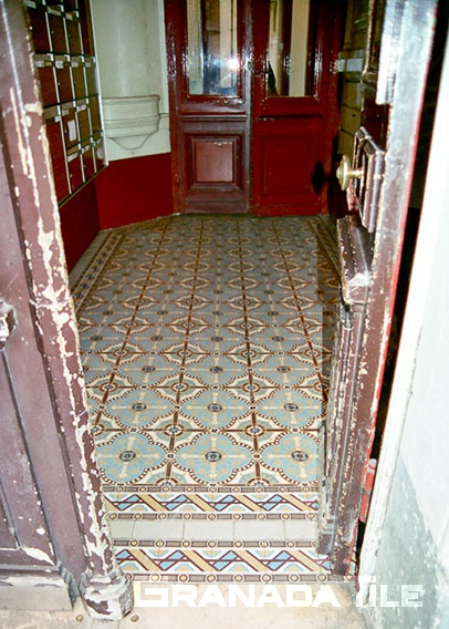 French cement tile in entryway