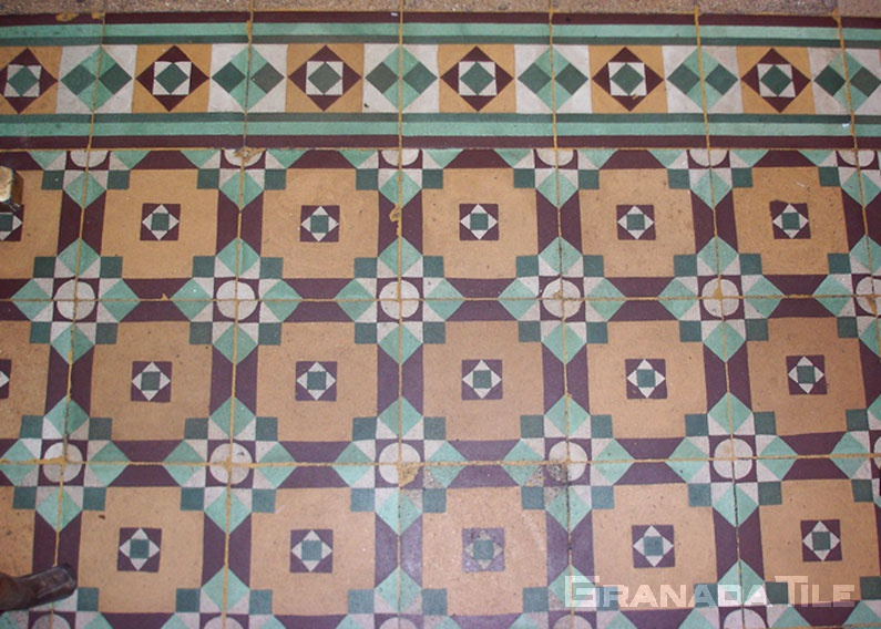 Geometric flowers Egyptian cement tiles