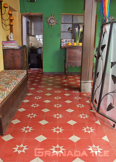 Red and white concrete tile design floor