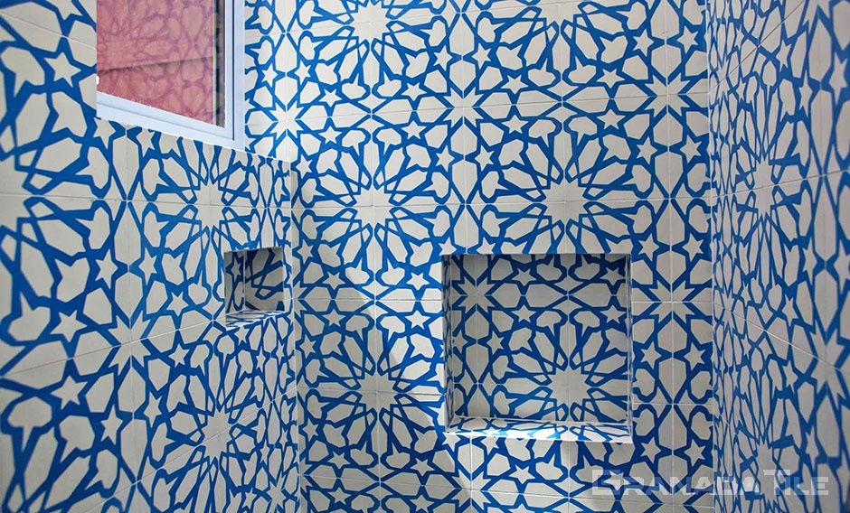 Alhambra Cement Tile Design for Bathroom
