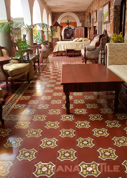 Stylish cement tile in hopscotch design in furniture shop