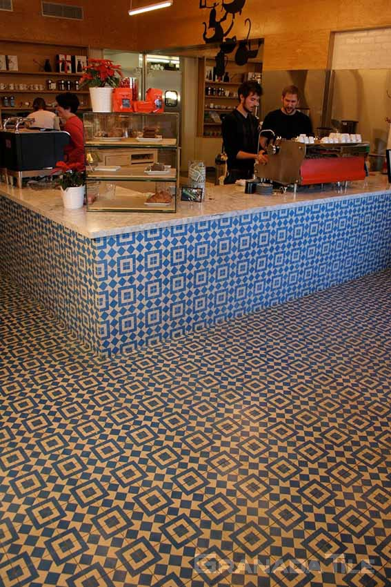 Photos of Cement and Concrete Tiles in Cafe Installation