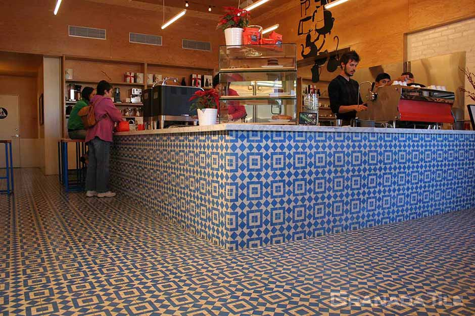 Photos of Cement and Concrete Tiles in Cafe