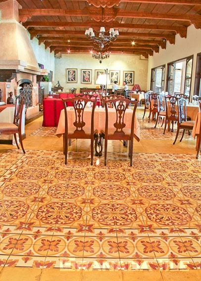 Concrete tile floor in a hotel restaurant
