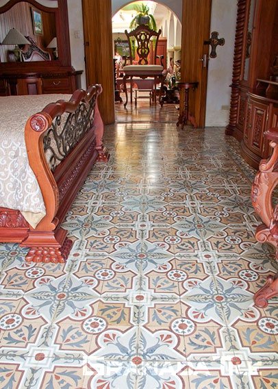 Cement tile in colonial furniture shop