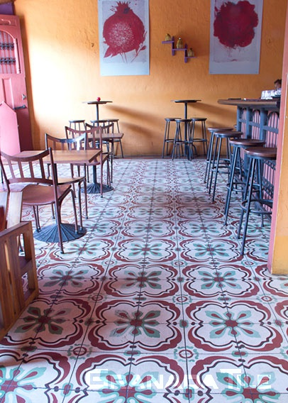concrete tiles in café