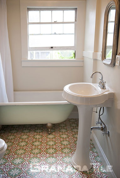 ... Sofia Cement Tiles In Vintage Bathroom ...