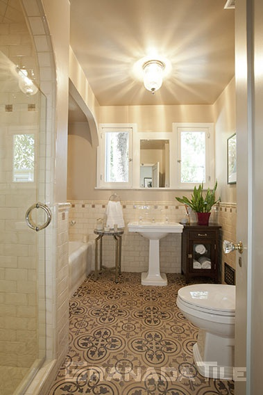 Cluny Cement Tiles in Earthtones for a Bathroom