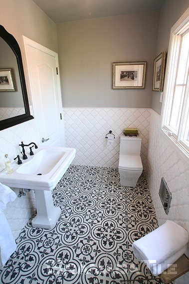 Cluny Cement Tile Design in Vintage Bathroom