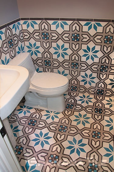 Mimbres cement tiles as bathroom floor and wall tile