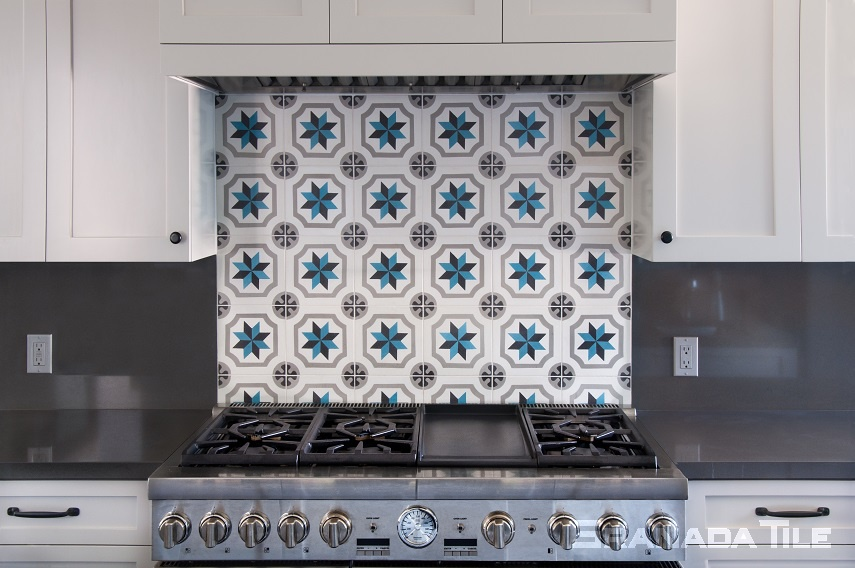Cement tiles kitchen backsplash