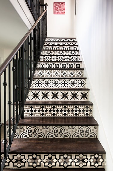 black and white cement tiles Echo Collection