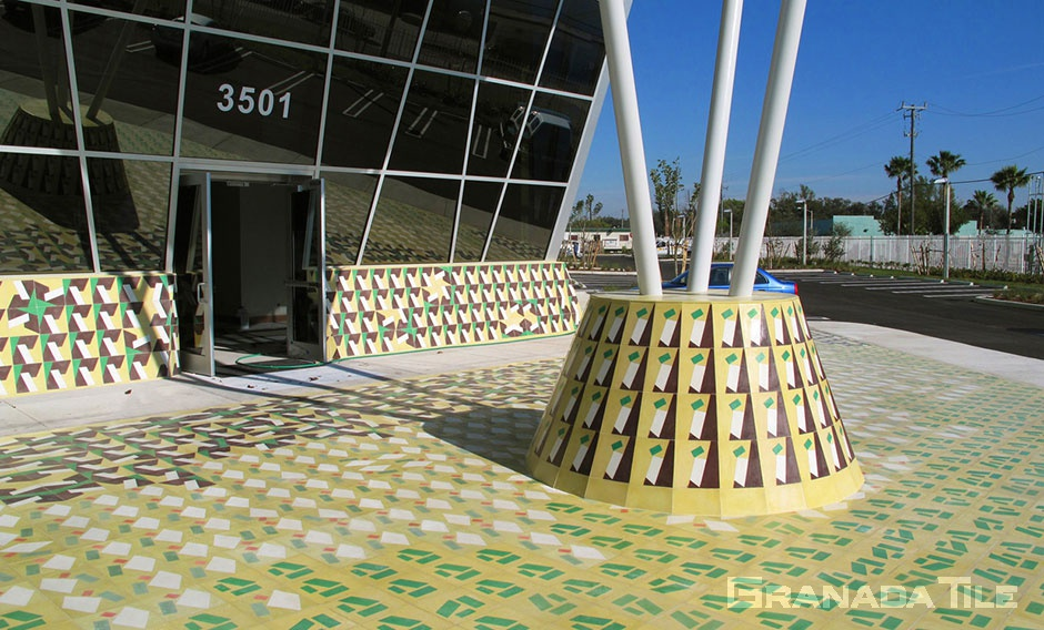 Cement Tile Outdoor Installation by Michelle Weinberg