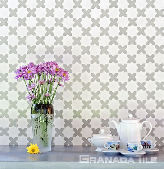 Minis Collection Star and Cross cement tiles in kitchen backsplash