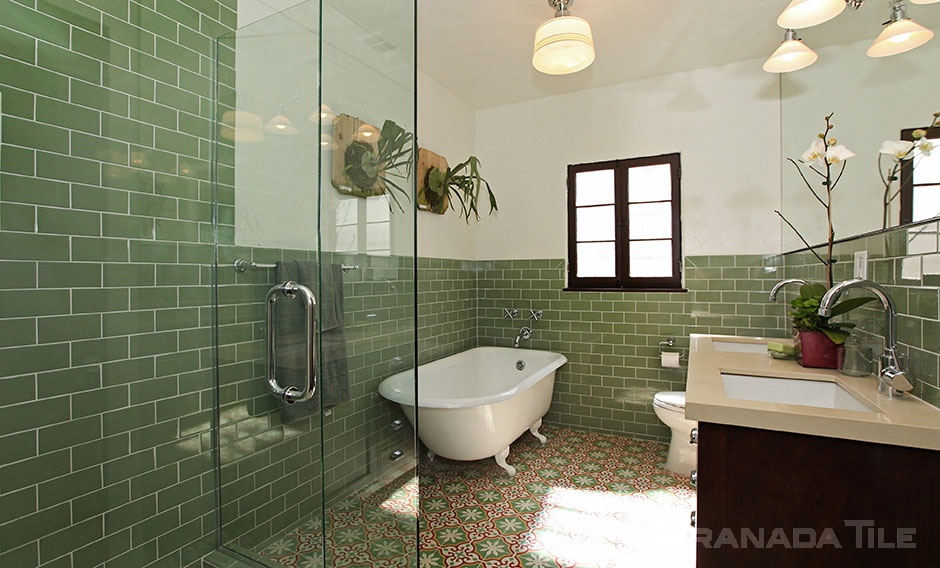 Sofia Patterned Cement Tiles in Bathroom