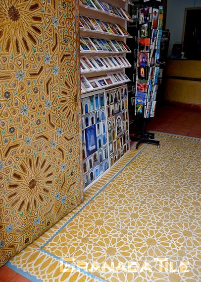 Moroccan cement tile floor in bookstore