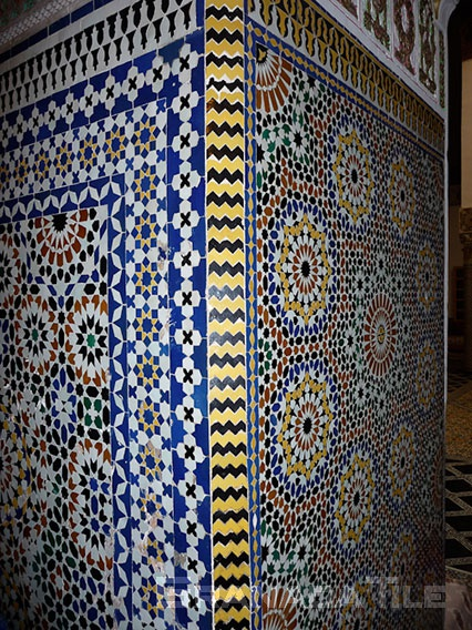 Zellige Moroccan glazed clay tile known