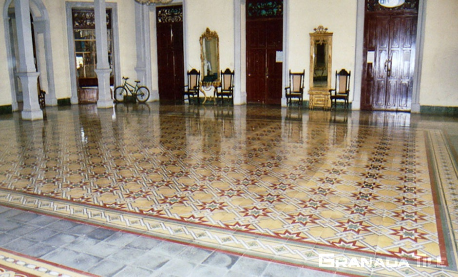 Beautiful cement tile carpet design in the Cultural Center in Granada, Nicaragua