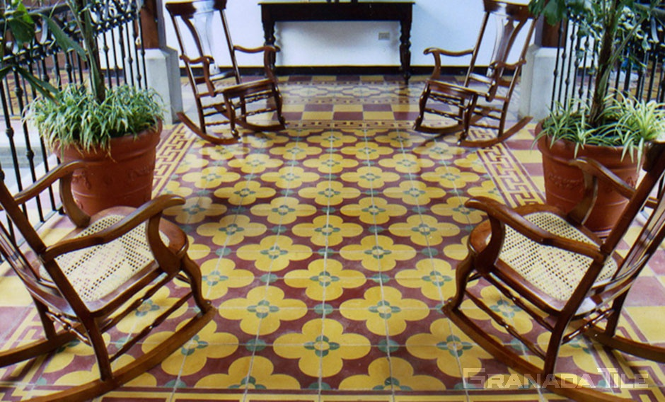 Upstairs sitting area with floral motif pattern concrete tiles