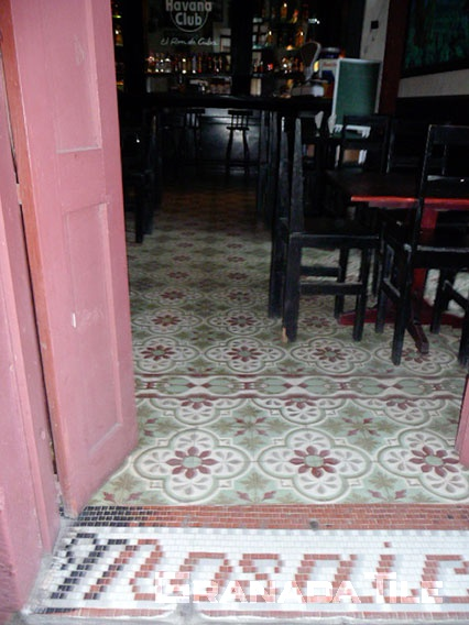 Cement tile and ceramic combination for bar