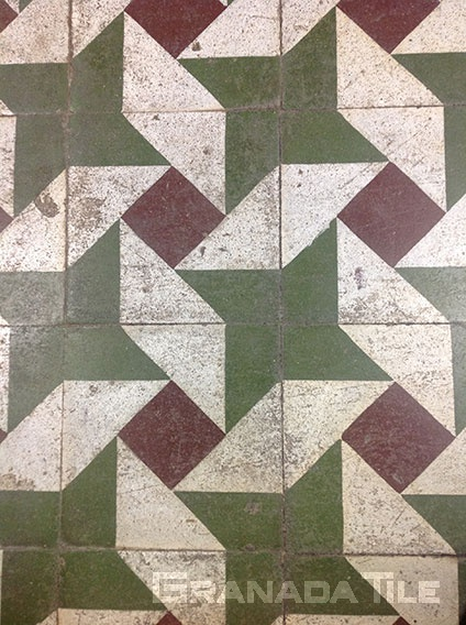 Pinwheel star cement tile design