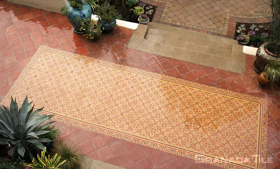 Cement Tile with Chantilly 902 A Design in Outdoor Patio at the Pasadena Showcase House