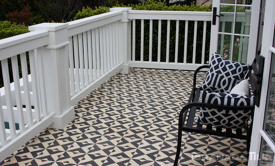 Serengeti cement tile on outdoor deck