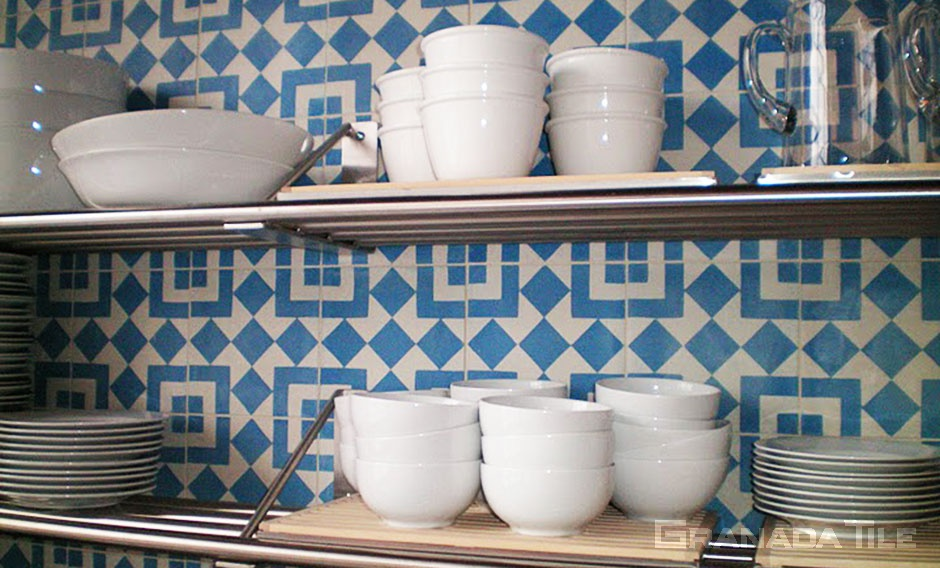 Close up of Cement Tile Kitchen Backsplash Fez 928 A Design in Blue and White
