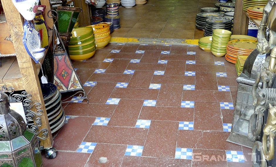 Blue and white checkered cement tiles