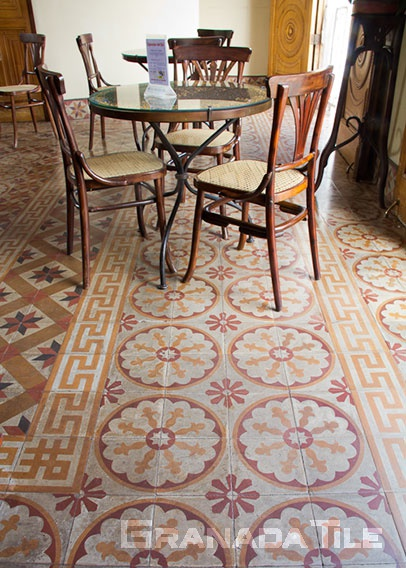 Spinning floral concrete tile pattern