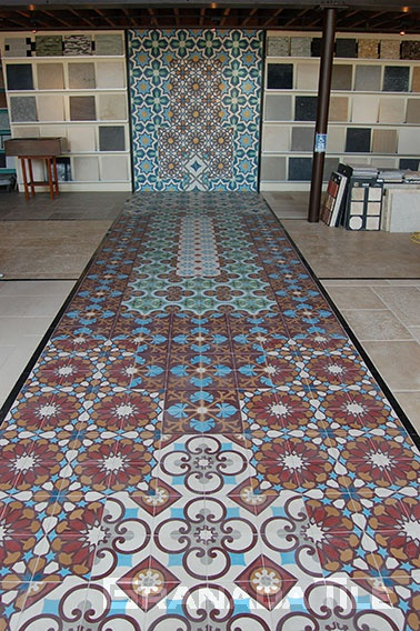 Decorative cement tiles carpet