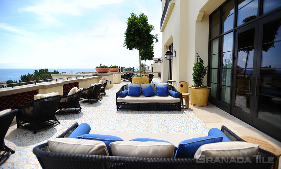Lovely St. Tropez-883A cement tile hand made by Granada Tile for outside deck at Terranea Resort and Spa by BaMo