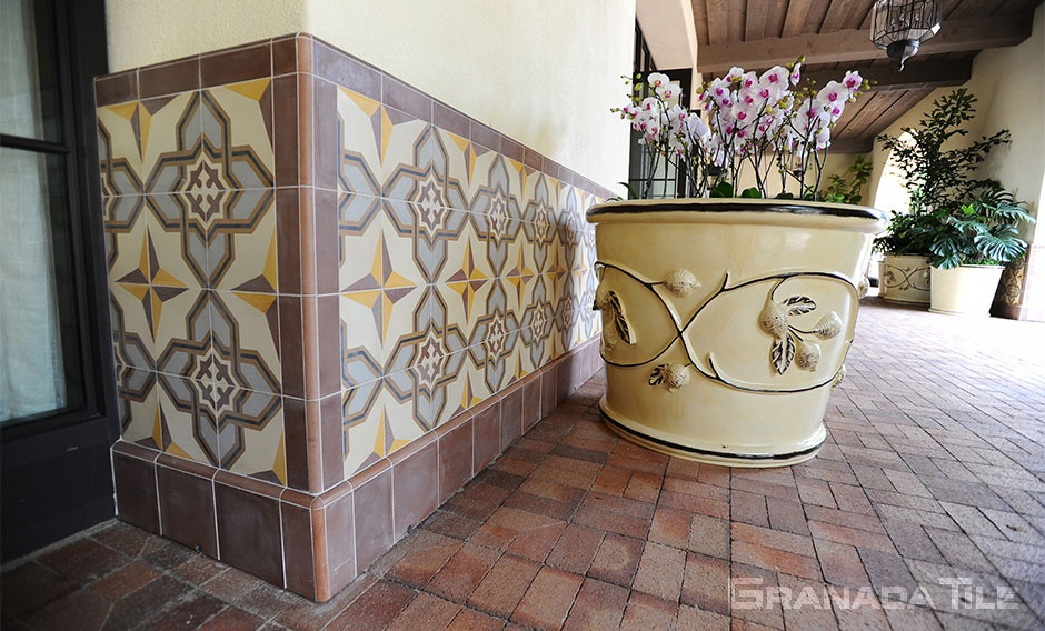 Granada Tile's La Rochelle-911A encaustic cement tile is perfectly suited with the Mediterranean architecture of the Terranea Resort and Spa entrance.