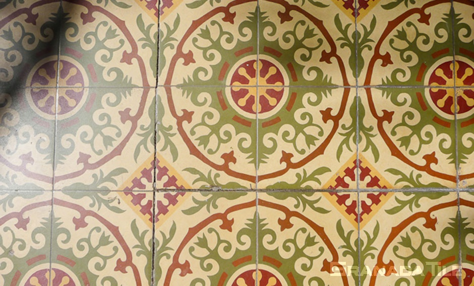 Detail of Historic Cement Tile Arcade at Casa Romantica in San Clemente, CA