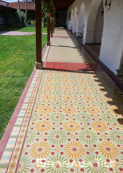 Historic Cement Tile Arcade at Casa Romantica