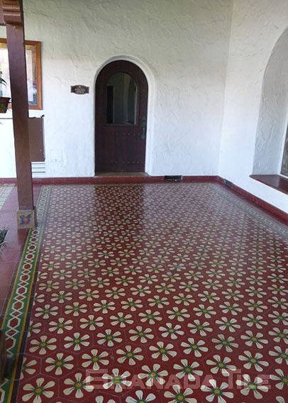 Historic Cement Tile Arcade with daisy motif at Casa Romantica in San Clemente, CA