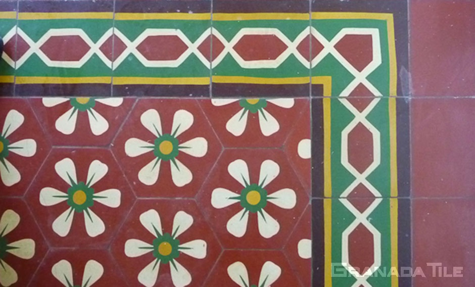 historic cement tile at Casa Romantica in San Clemente, CA