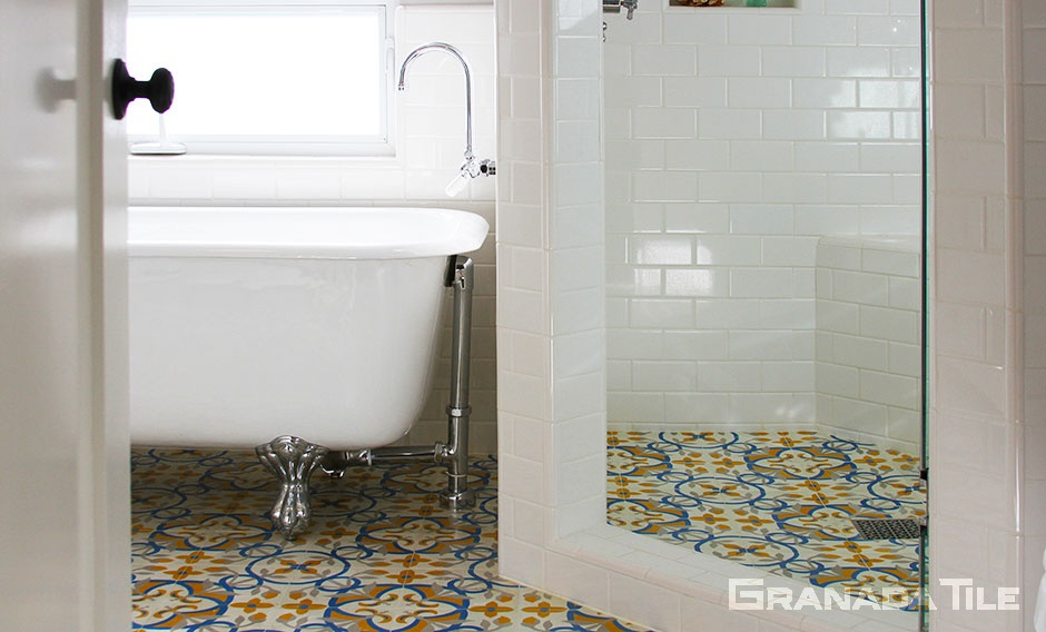 St. Tropez Style Cement Tile for Bathroom Floor