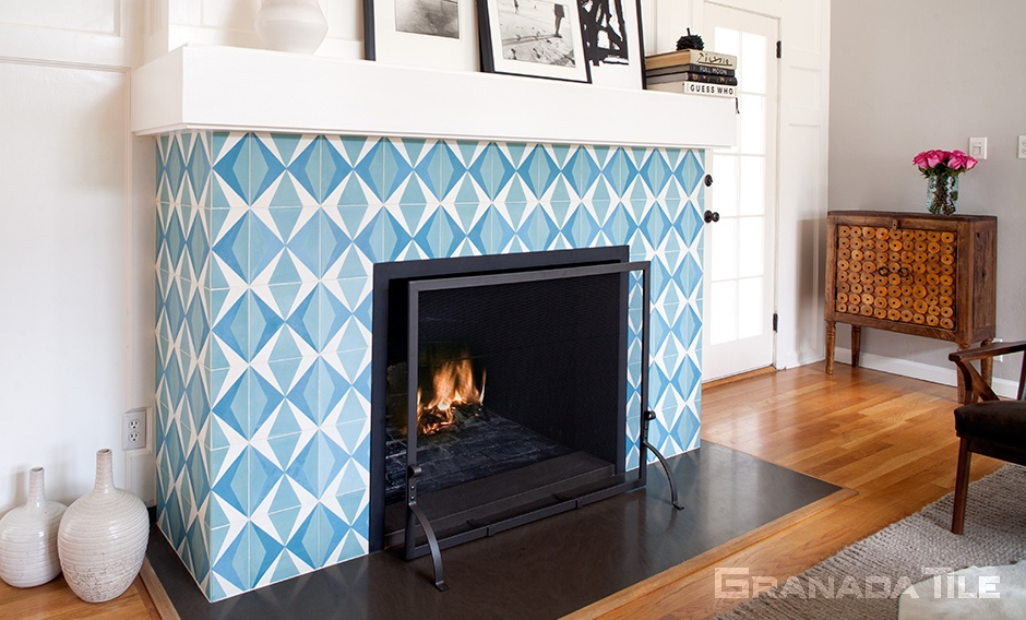 Vibrant cement tile fireplace in shades of blue