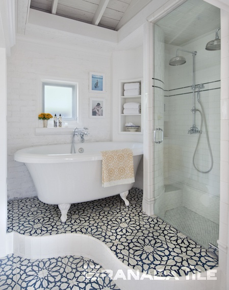 Granada Tile Company's Alhambra blue and white bathroom floor cement tiles at Casa Laguna Hotel & Spa