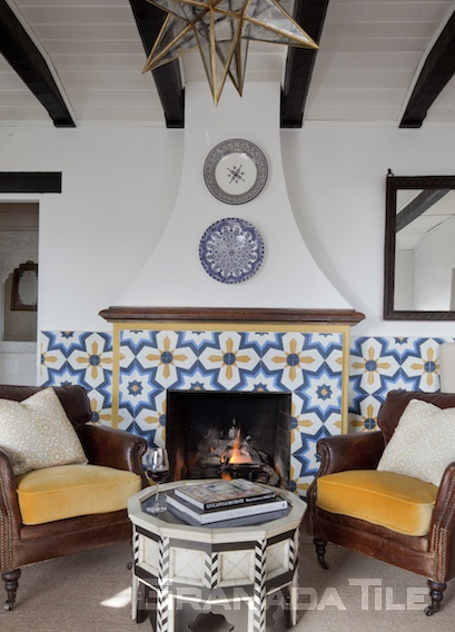 Casa Laguna Hotel's lobby showcases Granada Tile Company's Estrella cement tiles in bright blue and yellow